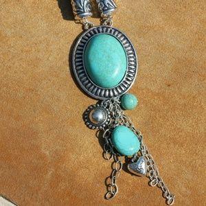 New! Boho Necklace Natural Stone & Bead Tassel